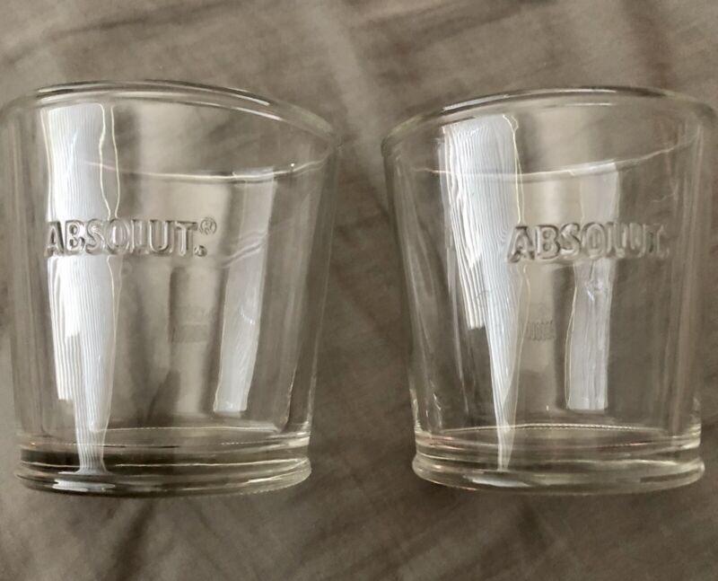 Two (2) Absolute Vodka Rocks Embossed Glasses Clean
