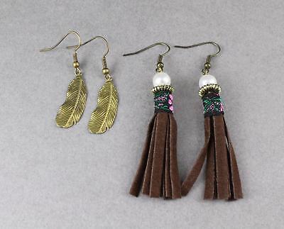 bronze leaf and tassel earrings Dark Brown faux suede dangle earrings 2 pair -
