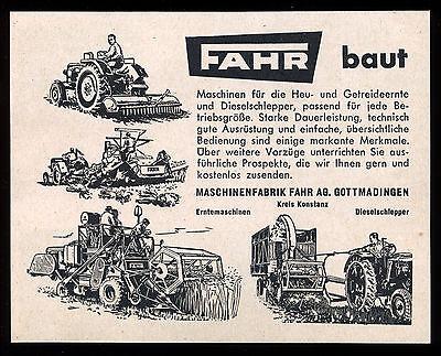 Alte Werbung 1957 Erntemaschinen Diesel-Schlepper Traktor FAHR (1) Gottmadingen