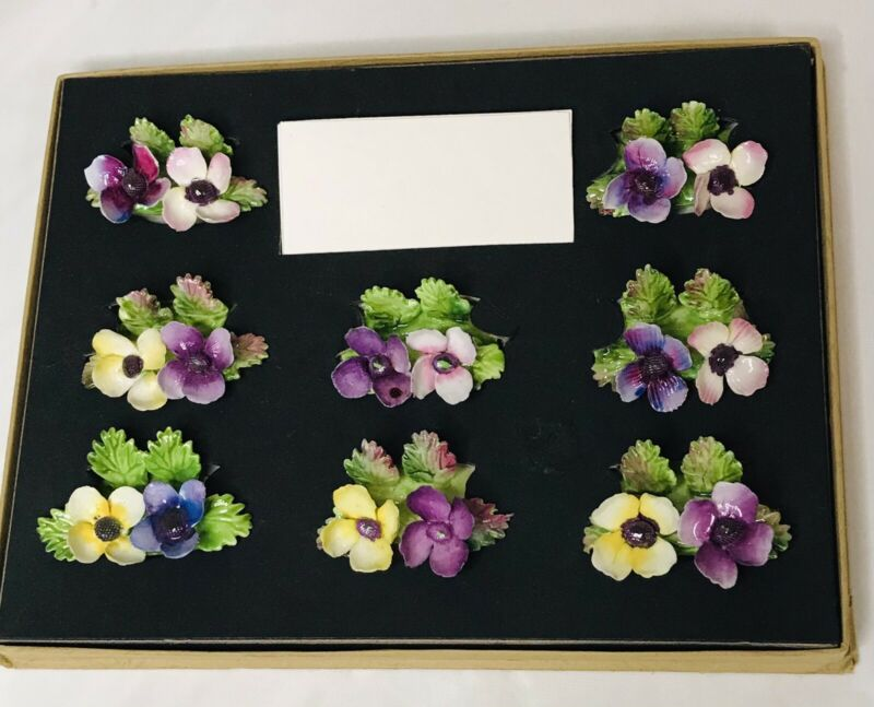 Vintage Crown Staffordshire China Set of 8 Place Card Holders in Original Box