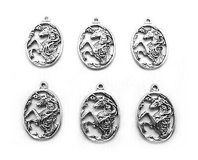 Horse Charms Pendants - 6 pcs ANTIQUED SILVERTONE UNICORN or HORSE Charms Pendants Earrings or Necklaces