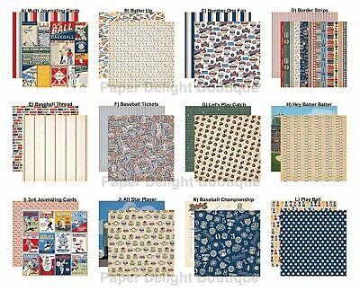 2 Sheets of Carta Bella Paper BASEBALL 12x12 Scrapbook Cardstock - U Choose Cardstock 12x12 Scrapbook Paper