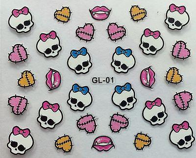 Nail Art 3D Decal Stickers Halloween Skull Bow Heart Stitches Vampire Kiss  GL01