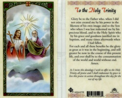 Holy Trinity Prayer Card Laminated Glory Be to The Father, Son and Holy Spirit
