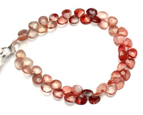 """Natural Andesine Labradorite Gem 7mm Size Faceted Heart Briolette Beads 8.5"""""""