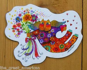 Leanin-Tree-Flex-Magnet-Cat-Holding-Flowers-by-Laurel-Burch-Whimsical-Colorful