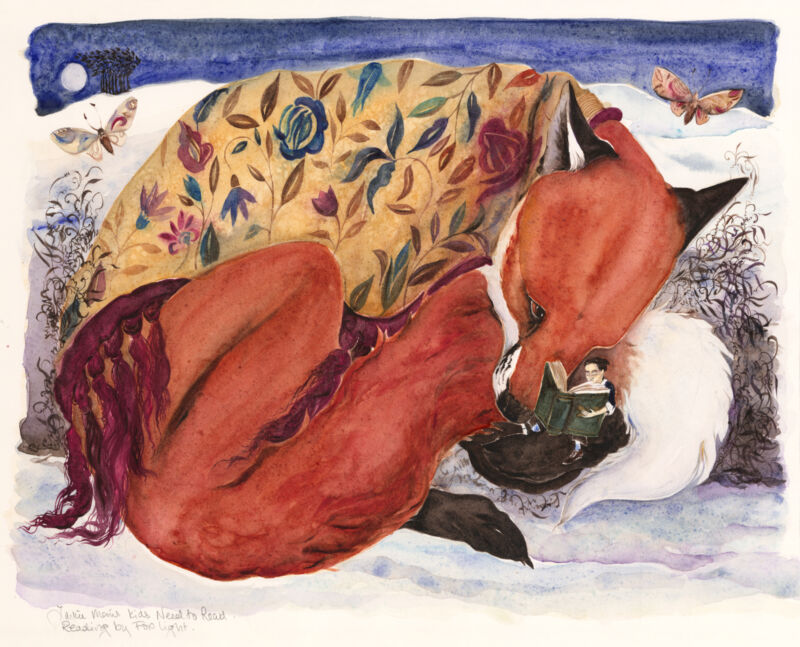 """Artwork Reproduction of Jackie Morris' """"Reading by Fox Light"""""""