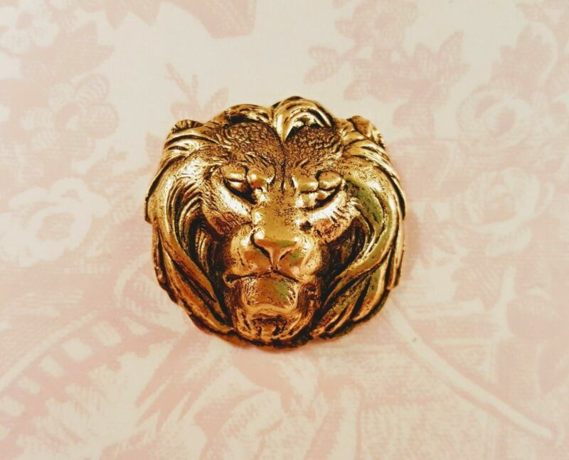 Matte Gold Ox Lion Head Stamping (1) - GOFF3817 Jewelry Finding