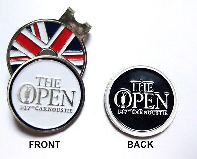 2018 BRITISH OPEN CARNOUSTIE 2-SIDED WHITE NAVY Ball Marker   UNION HAT CLIP 90774bba2288