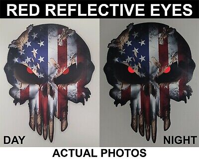 American Flag Skull decal reflective eyes sticker Car Truck Window Bumper USA 3M