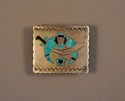 VINTAGE NAVAJO INDIAN SILVER BELT BUCKLE - INLAID TURQUOISE JET SHRINERS SYMBOL