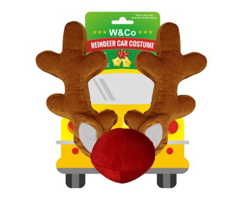 Win&Co Car Reindeer Antlers & Nose Costume Reindeer Christmas Car Character Kit