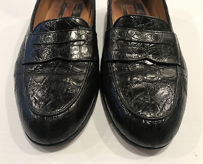HANDMADE a.testoni Black Alligator Leather Shoes Loafers Size 8 ITALY