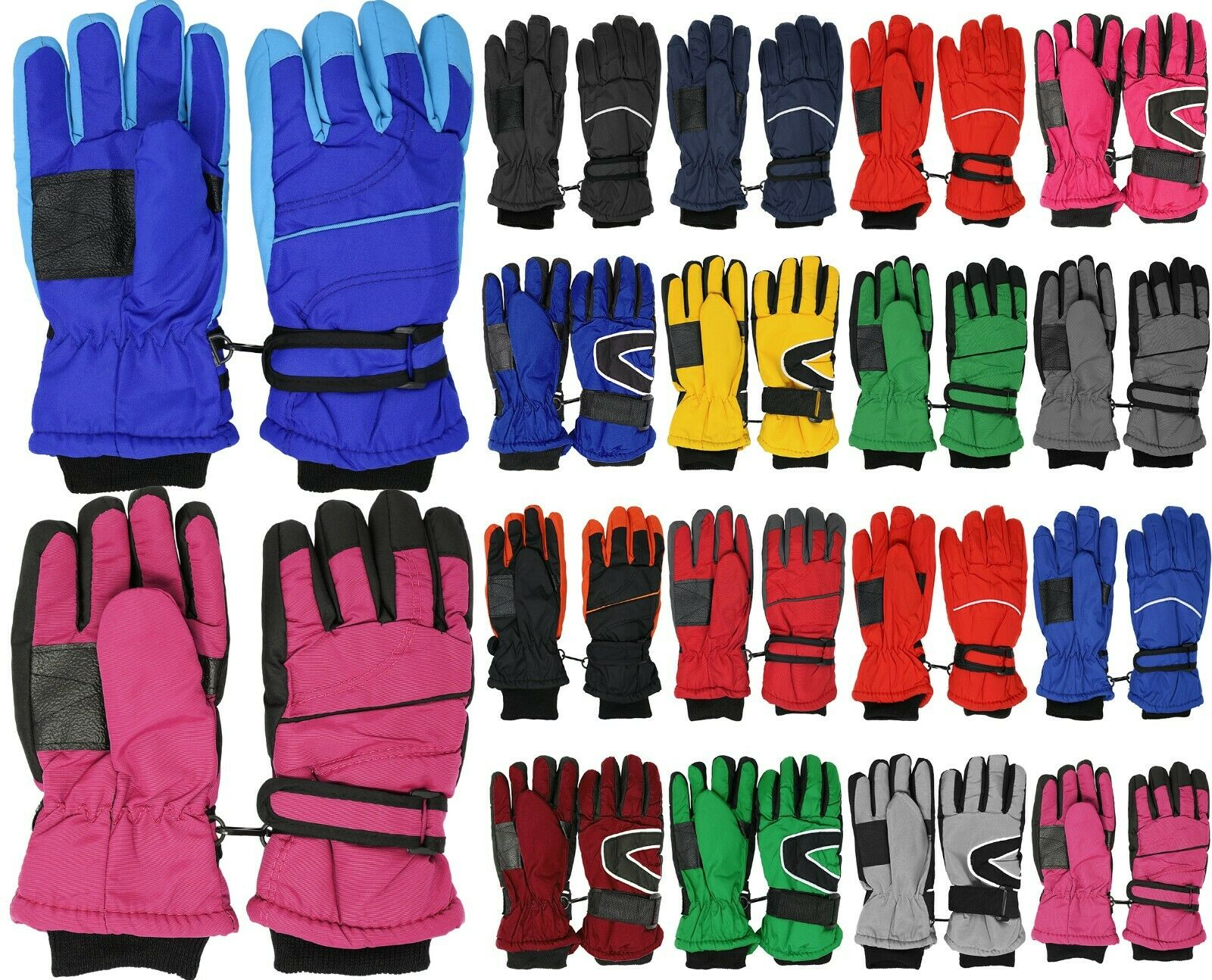 Kids Winter Warm Snow & Ski Gloves – Thermal Shell & Synthetic Leather Palm Baby