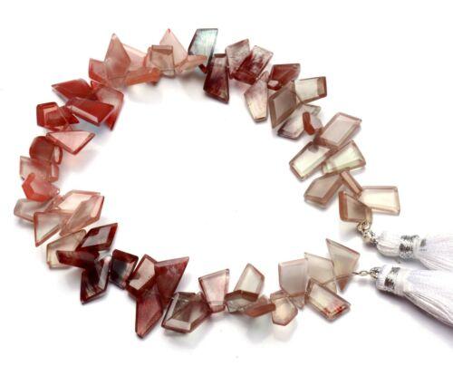 """Natural Gem Andesine Labradorite Faceted Slice Shape Beads 8"""" Strand 78Cts."""