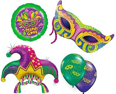 Masquerade Balloon Decorations (Mardi Gras Mask Balloons 15-pc Party Pack Foil and Latex Mix Balloon)