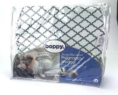 NEW Boppy Pregnancy Wedge Support Pillow w/ Gray White Trellis Slipcover NIP!
