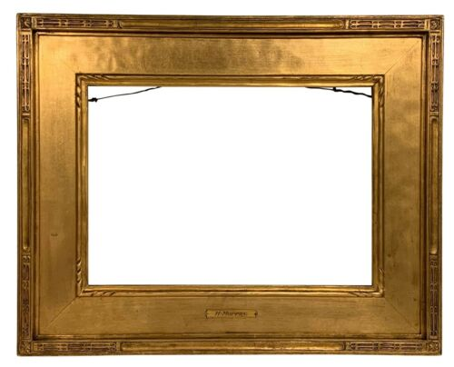 """American ARTS & CRAFTS Carved Gilt PICTURE FRAME 10""""x14"""" Newcomb Macklin Style"""