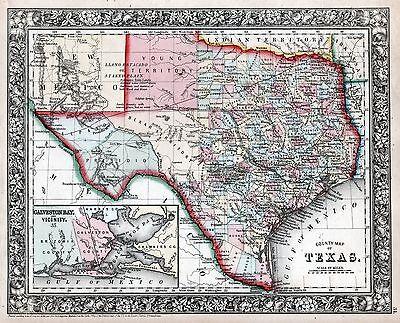 "1860 Texas Civil War S.A. Mitchell Map Print 16"" x 20"""