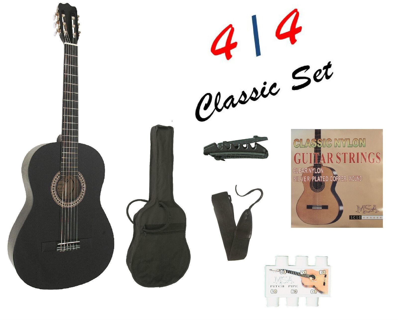 4/4, Gitarre  mit Tasche+Band+Kapodaster+extra Saiten+ Stimmpfeife -Set!!21*b