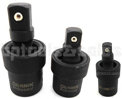 "3pc 3/8"" 1/2"" 1/4"" Dr. Impact Universal Joint Swivel Socket Set CR-MO Ball Type"