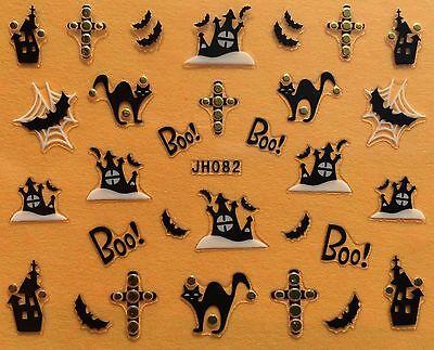 Nail Art 3D Decal Stickers Halloween Boo Black Cat Haunted House Bat Cross JH082](Black Cat Halloween Nails)