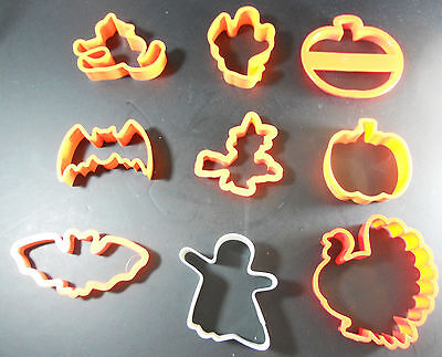 LOT 9 Cookie Cutters Fall Halloween Thanksgiving Orange Plastic Witch Turkey