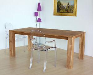Tavolo da pranzo Design in legno massiccio di Teak NATURALE finito a cera OUTLET  eBay
