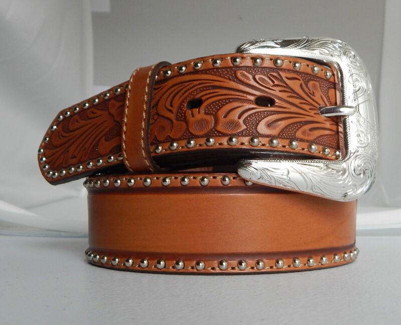 Justin New Tooled  Studded Leather Belt  Size 28  NWT C11014