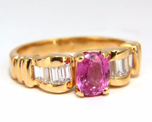 Aigs Certified 1.65ct Natural No Heat Pink Sapphire Diamonds Ring Unheated