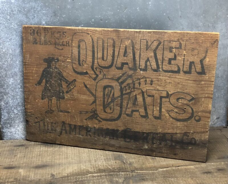Antique Original Quaker Oats Crate Sign Advertisement Wood Late 1800 Early 1900s