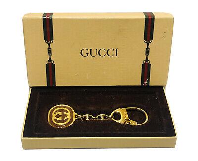 Vintage GUCCI GG Gold Plated Brown Enamel Logo Key Chain