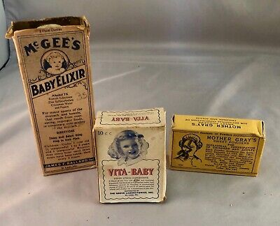 Vintage Medical Bottles, McGee's Baby Elixir, Vita Baby, Mother Gray's Powders