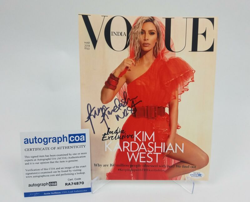 Kim Kardashian West Autographed Signed 8x10 Photo Vogue Cover Shot ACOA