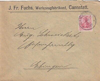 CANNSTATT, Briefumschlag 1905, J. Fr. Fuchs Werkzeug-Fabrikant