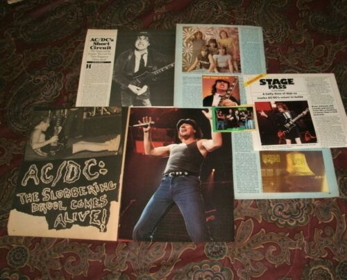 ACDC very nice clippings color photos, news ads, prism sticker vintage Angus