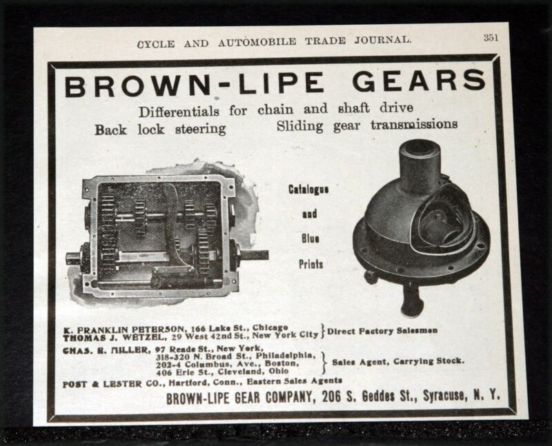 1907 OLD MAGAZINE PRINT AD, BROWN-LIPE TRANSMISSION GEARS, CHAIN OR SHAFT DRIVE!