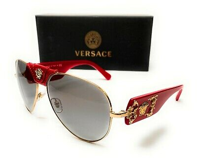 Versace VE2150Q 100211 Gold/Red Men's Pilot Sunglasses 62-14
