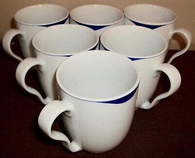 Six Crate & Barrel KAHLA Mugs Germany Cobalt and White