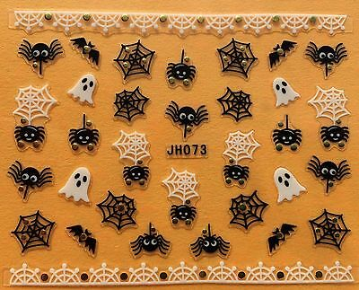 Nail Art 3D Decal Stickers Halloween Ghost Spider Web Bat JH073