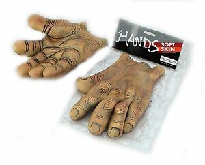 Giant Brown Vinyl Hands Monster Halloween Fancy Dress Troll Horror Accessory