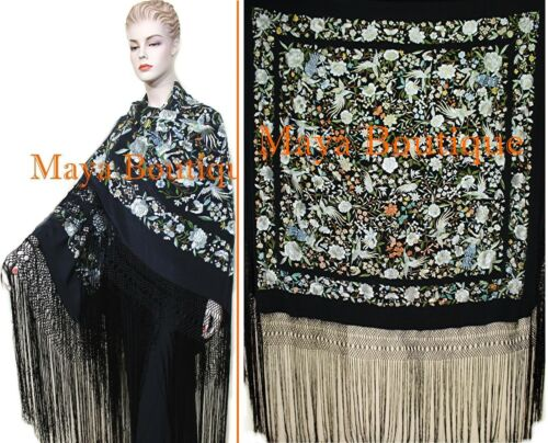 """Hand Embroidered Flamenco Silk Piano Shawl Floral Birds Butterfly Huge 90"""" Maya"""