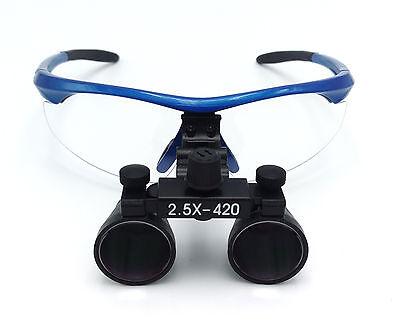 Dental Surgical Medical Binocular Loupes 2.5x420mm Optical Glass Dy-101 Blue