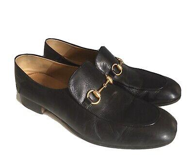 Gucci Mens Shoes Black Leather Horsebit Loafers UK 11