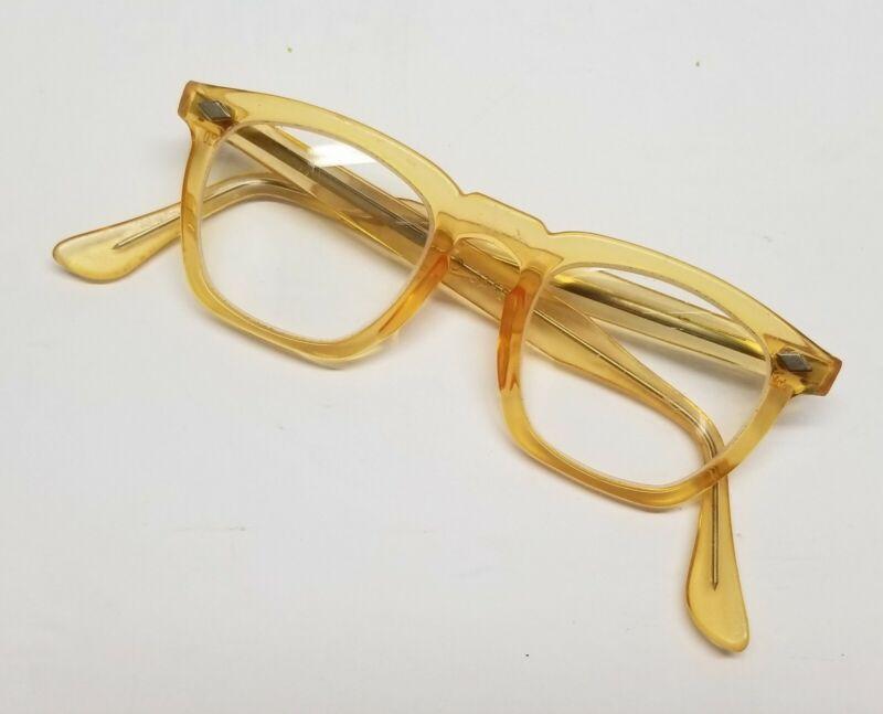Vintage 1960s Retro Yellow Gold US Safety Horn Rim Glasses Arnel Shape Frame 44