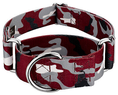 Country Brook Petz® 1 1/2 Inch Crimson and White Camo Martingale Dog -
