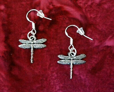 BUY 3 GET 1 FREE~DRAGONFLY DANGLE SILVER EARRINGS~STERLING HOOK~GIFT FOR HER