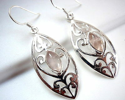 Rose Quartz Marquise Floral Filigree 925 Sterling Silver Dangle Drop -