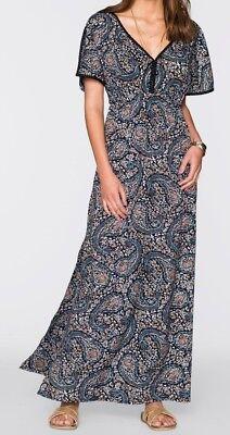 MAXIKLEID Gr. 44 NEU PAISLEY-DESIGN! LANGES KLEID LONG DRESS MULTICOLOR-PRINT Paisley Designer