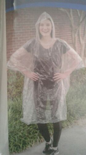 New Rain Coat Poncho with Hood  Clear Plastic Reusable